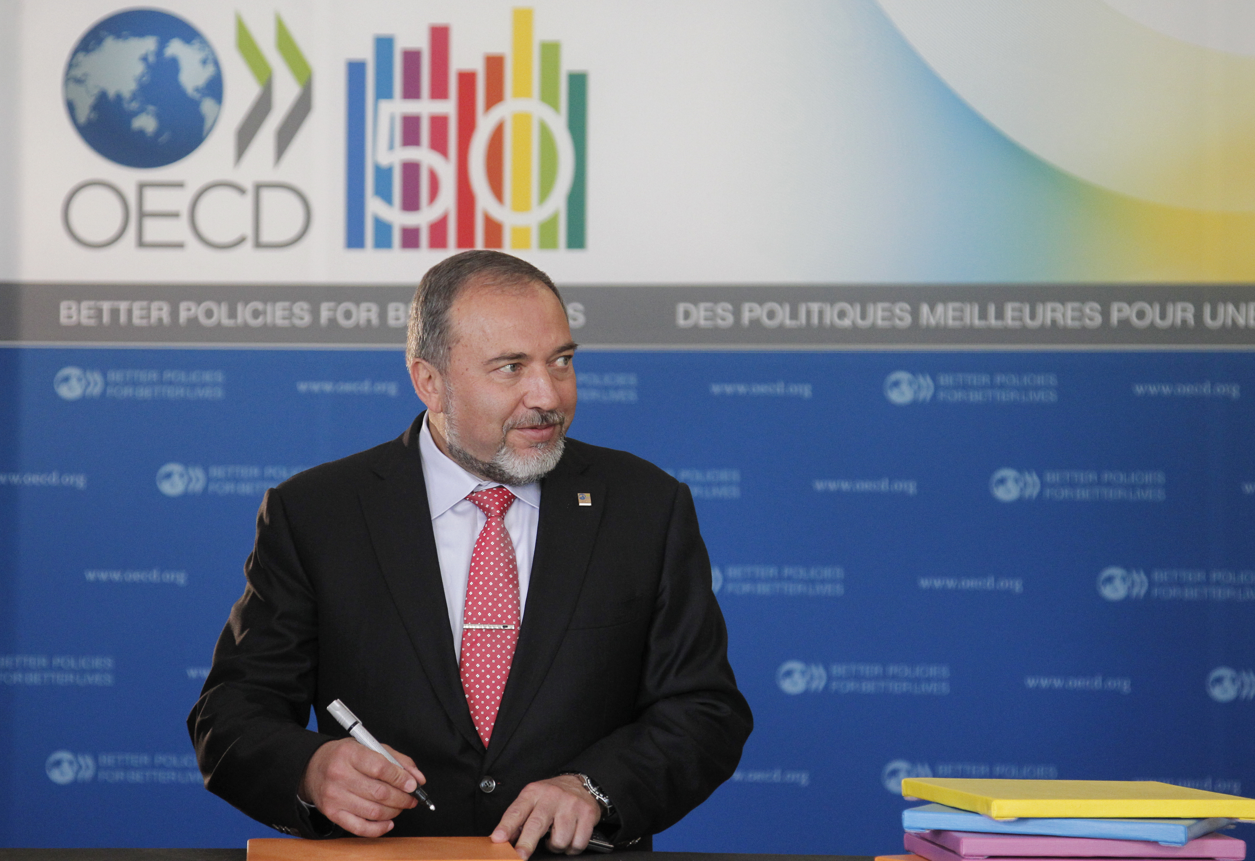 25 may 2011, OECD FORUM 2011 ARRIVAL OECD left/Right : Avigdor Liberman Deputy Prime Minister and Minister of Foreign Affairs, Israel Paris/France Victor Tonelli/OECD